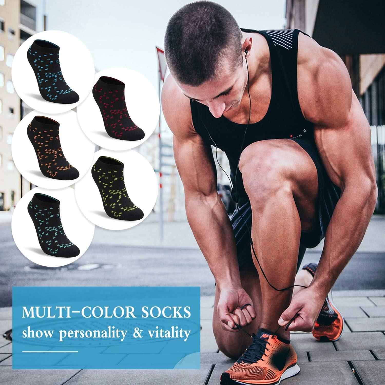 GILLYA Ankle Socks for Men Women 5 Pack Running Socks Low Cut Colorful Lightweight Padded Anti-Blisters Athletic Socks