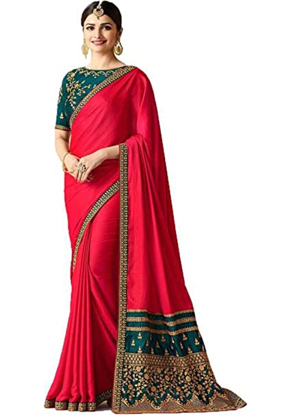 6d2f6f66bd1132 Viviki Fashion Silk Saree With Blouse Piece (sparkal red Red Free Size)   Amazon.in  Clothing   Accessories