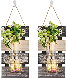 Sziqiqi Large Rustic Wood Mason Jar Vase Wall Planter Sconces Decor Set of 2, Hanging Wall Planter Flower Terrarium Container Holder, Wall Background Decoration for Living Room Bedroom Office, Spring