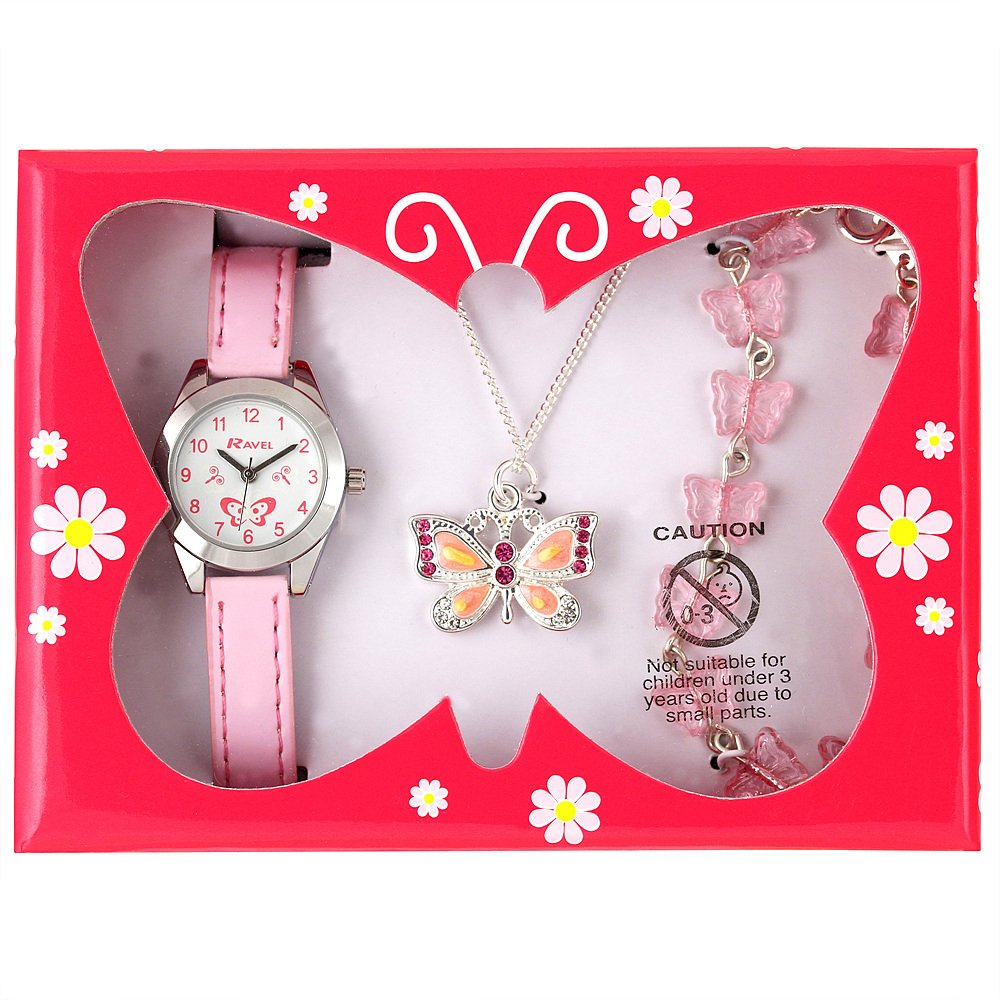 Ravel - Little Gems Watch With Matching Butterfly Necklace And Bracelet