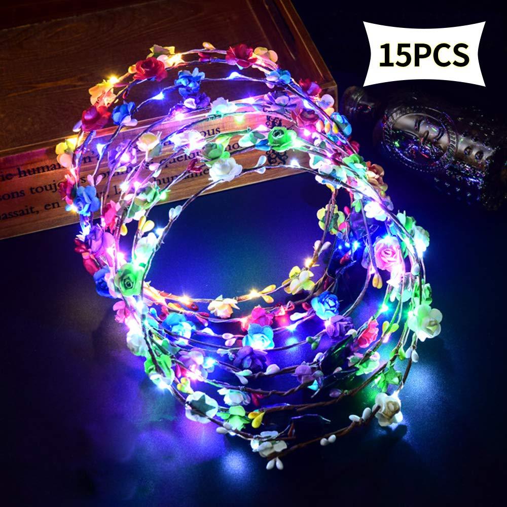 Siwo LED Flower Headbands.15 Pcs Led Flower Headpiece for Women Wedding Festival and Partys