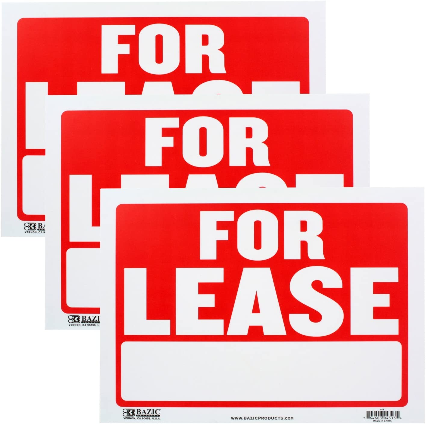 Bazic Small 9 x 12 Inches for Lease Sign, Pack of 3 (S-9)