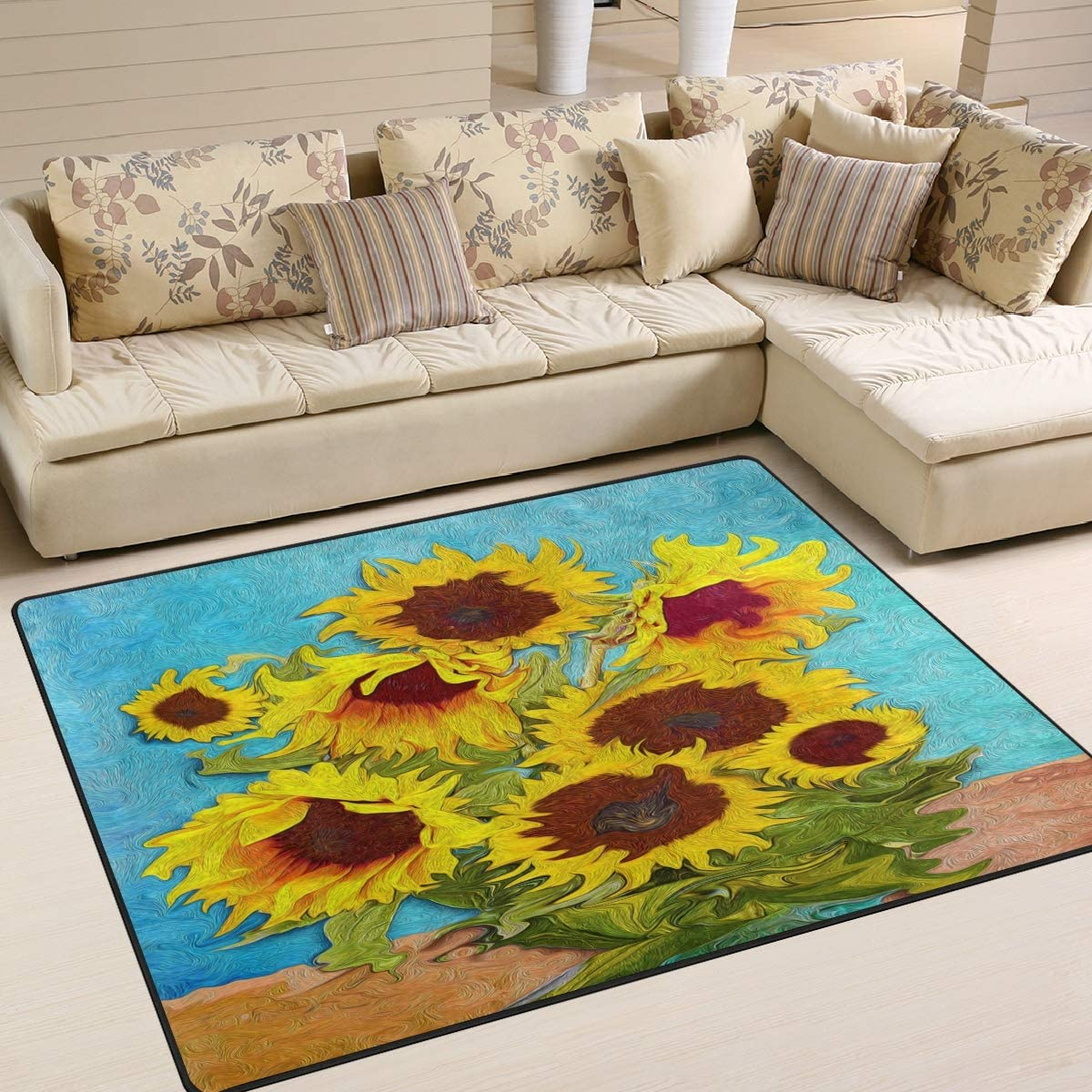 ALAZA Artwork Sunflower Area Rug Rug
