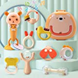 CUTE STONE Baby Rattles Teether Rattles Toys Set,Electronic Grab Shaker with Music and Light,Musical Toy Set with Bonus…