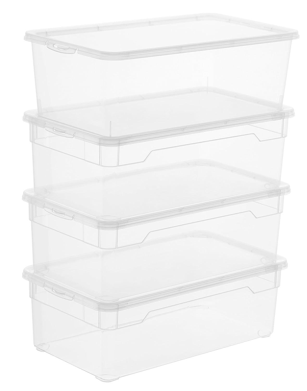 Pack de 4 cajas pequeñas de plástico con tapa. Opción de tamaños y packs.