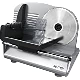 MLITER Electric Food Slicer Precision 19cm Stainless Steel Blade 150W Meat Slicer Bread Slicer Food Cutter for Kitchen Use - Silver