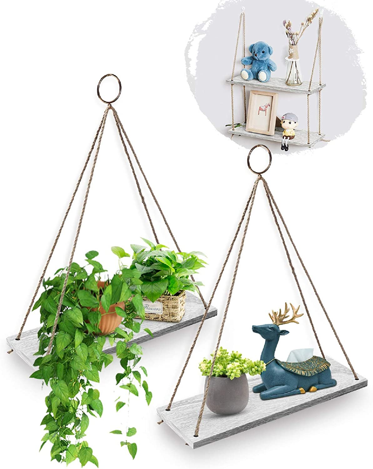 AGSIVO Hanging Shelves for Wall Hanging Floating Shelves with Rope for Living Room Bedroom Bathroom - Wood Hanging Shelf Storage Decor Wall Shelves, Lightweight and Durable (2PCS White)