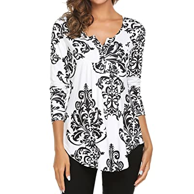 Women's Paisley Printed Long Sleeve Henley V Neck Pleated Casual Flare Tunic Blouse Shirt at Women's Clothing store