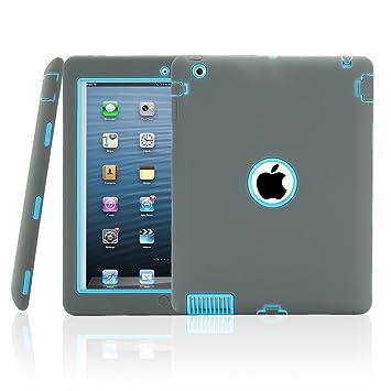 TKOOFN PC + Silicona Hibrido Funda Carcasa Cubierta Caso disendo para Apple iPad 2/3/4 Gris + Azul cielo