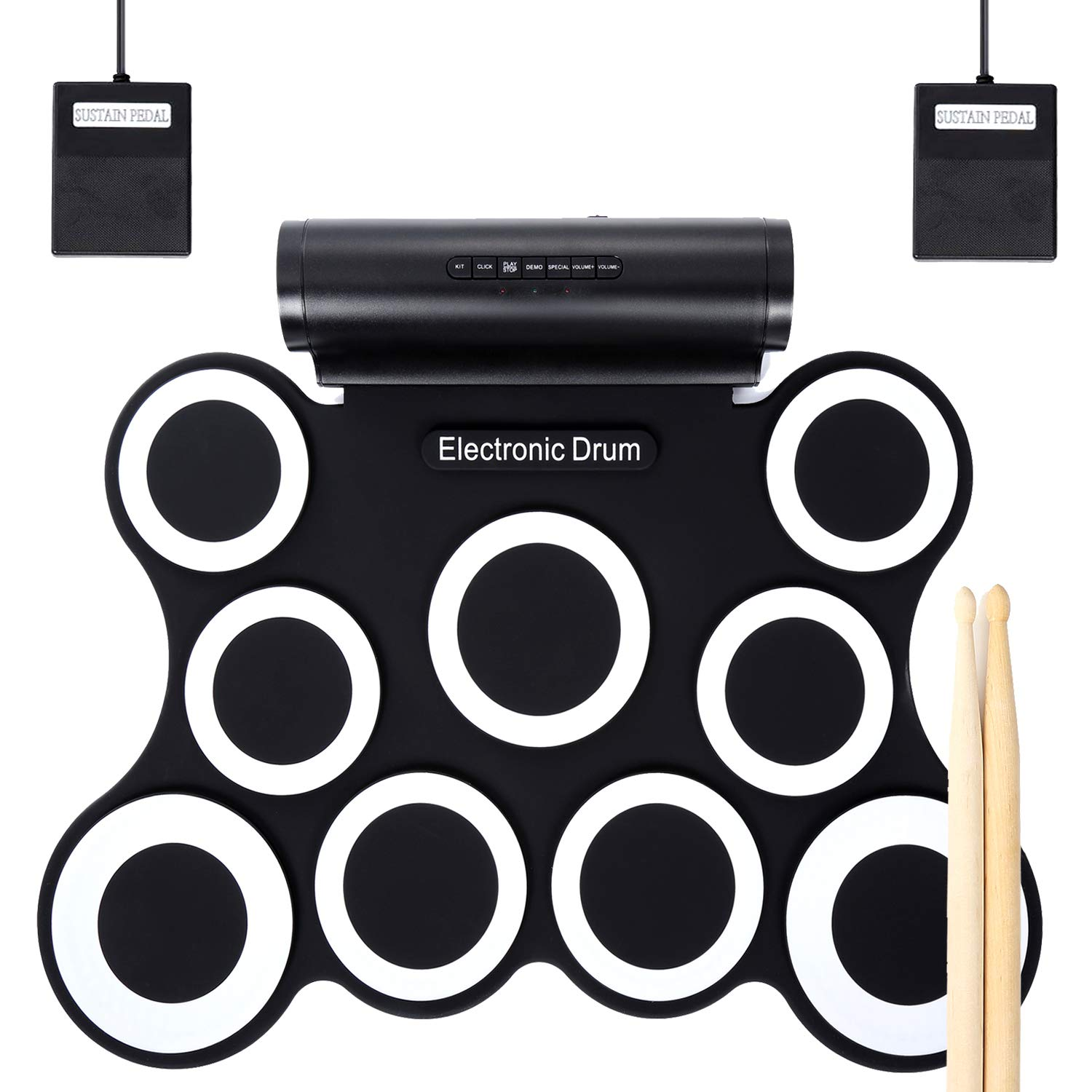 Electronic Drum Set, Christmas Gifts for Kids 9 Pads Roll Up Drum Kit Practice Pad Midi Drum Kit with Headphone Jack, Built in Speaker and Rechargeable Battery, Drum Stick, Foot Pedals. by Moongo Tool