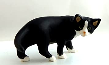 Casa De Muñecas 1:12 Escala Falcon Miniatura Animal Mascota Negro Con Gato Blanco Calcetines