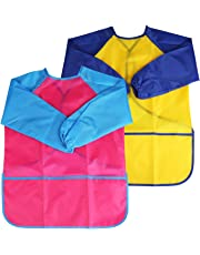 NEWSTYLE Children's Art Smock - Long Sleeve Waterproof Kids Painting Apron for School Classroom and Kitchen, 2 Pieces Pink & Yellow