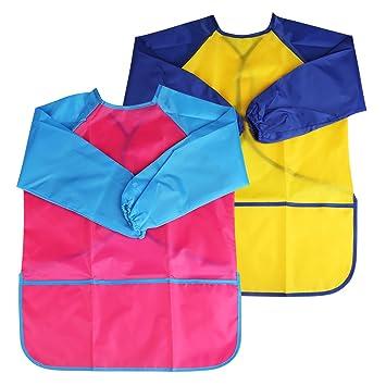 Bellestyle Delantales De Ninos 2 Pack Delantal Para Cocina Y La Pintura Para 3 6 Anos Ninos Azul And Rojo Pink And Yellow