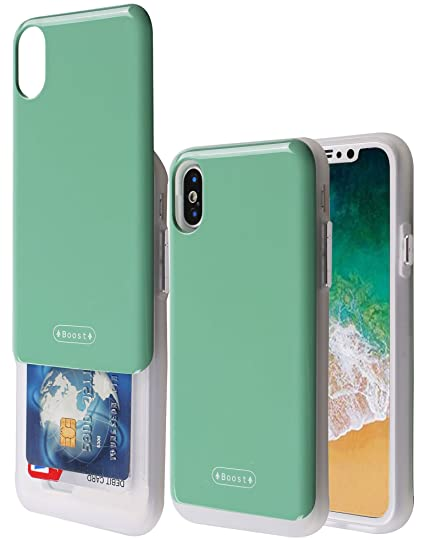 save off 07f03 4b09b iPhone X Case with Card Holder, Boost [Slide Back Wallet Case] Protective  Slim Fit Dual Layer Hidden 2 Credit Card Holder ID Slot Card Case for Apple  ...