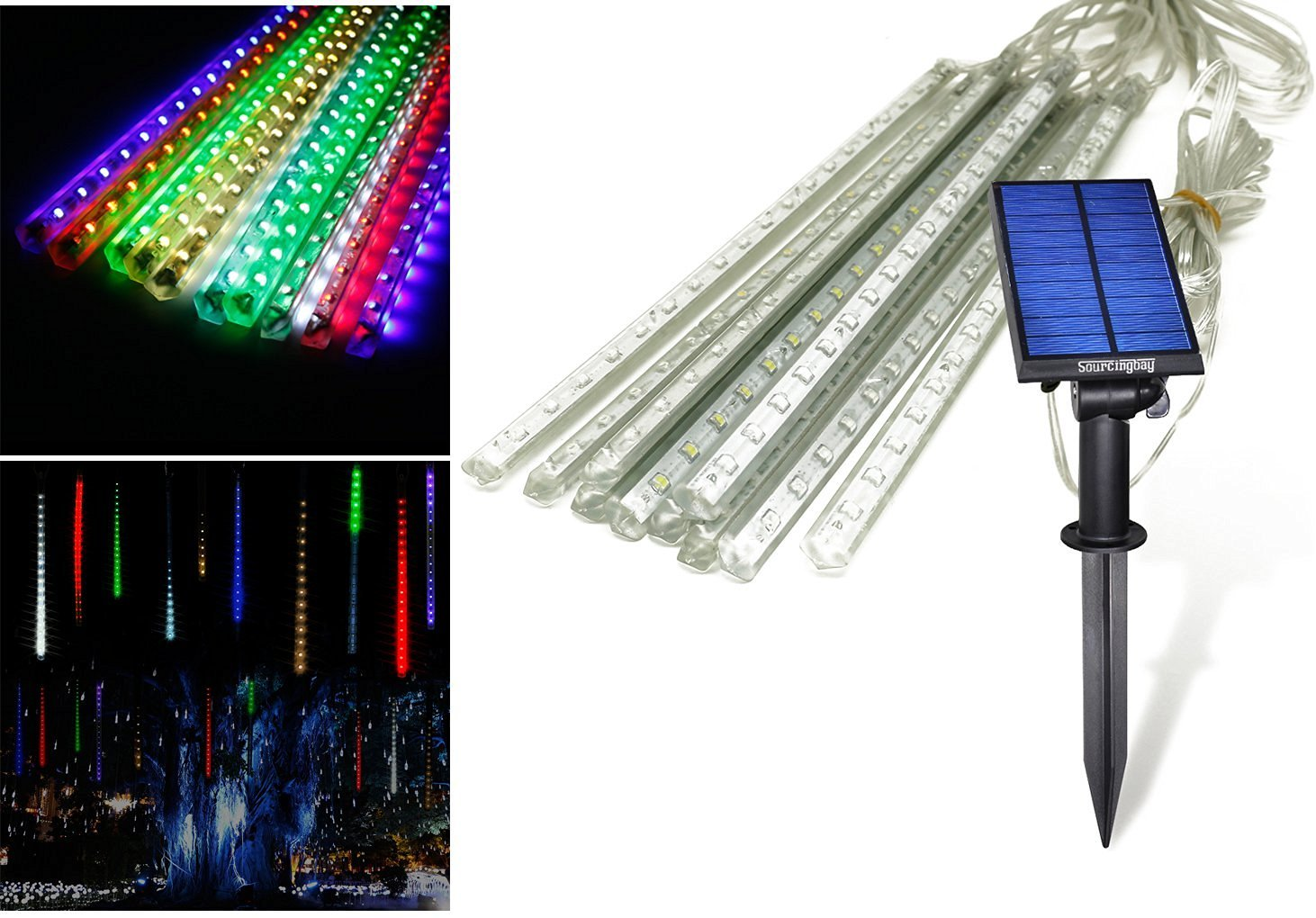 Led Solar Outdoor Lights, Jeasun 45ft 10 Bars 360 LEDs Falling Rain Drop/Meteor Shower String ...