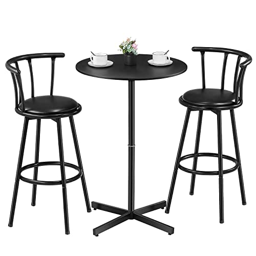 Kealive Bar Table Set 3 Piece Wood Round Table with 2 Stools, X-Shaped Base 39 Height Table and Swivel Barstools PU Leather Ergonomic Backrest for Home, Kitchen