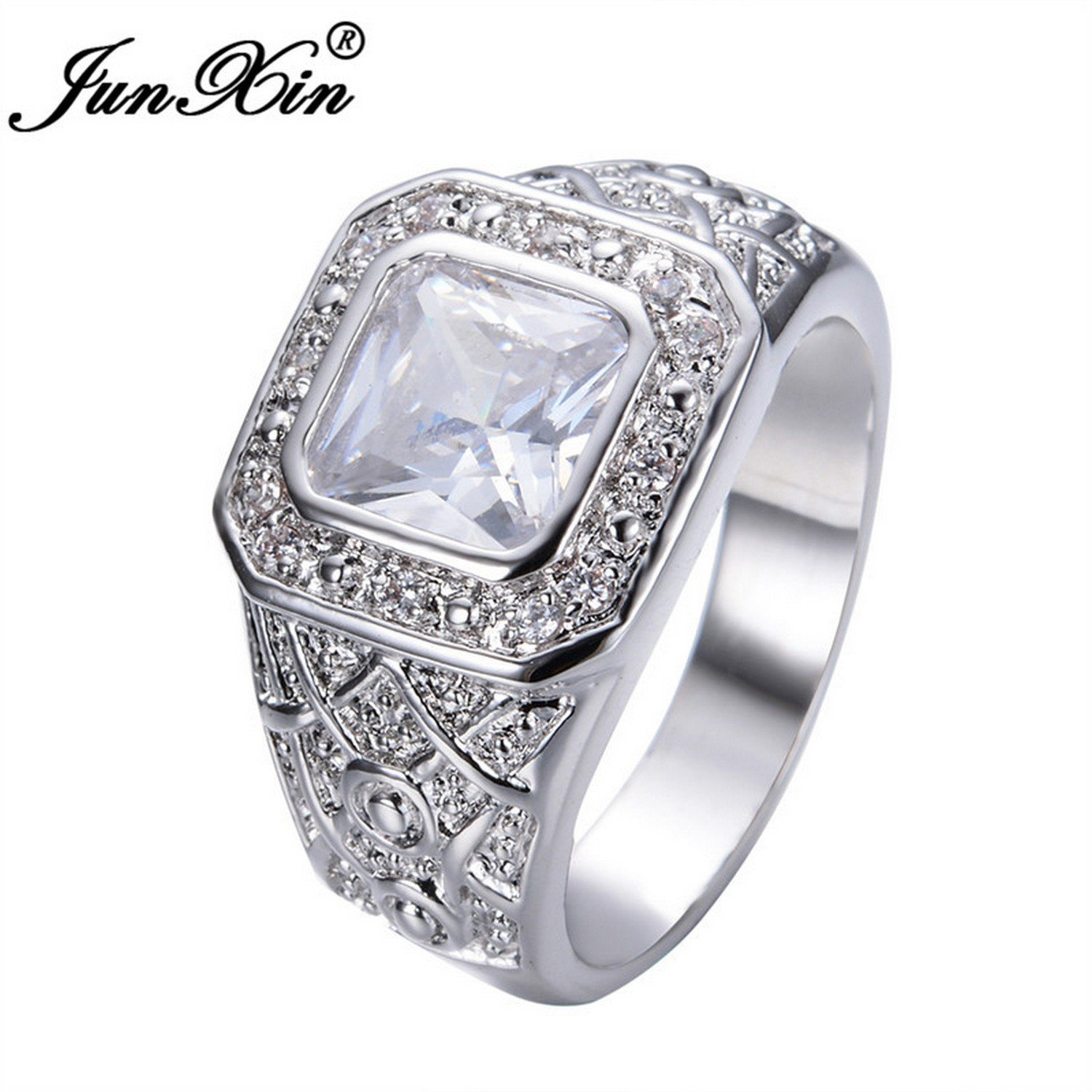 Slyq Jewelry Size 10 New Brand Design White Ring gold Filled CZ Wedding Jewelry Fashion Rings for Men and Women RW0280