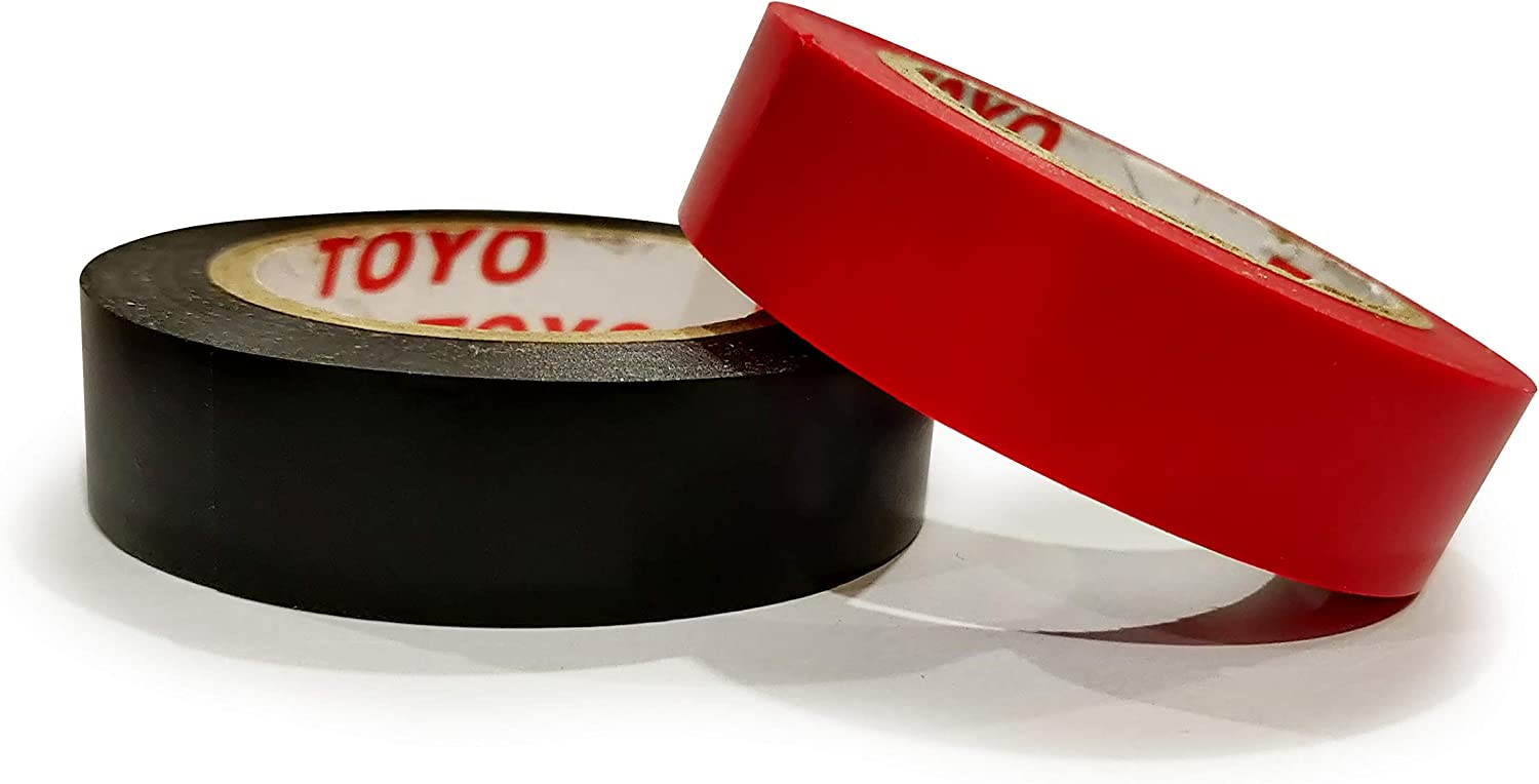 Flame Retardant Toyo PVC Electrical Tape 0.6 Inch X 36 Feet 6 pcs//Pack Heat Resistant Waterproof Black and Red