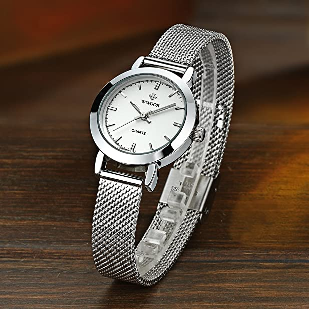Amazon.com: WWOOR New Women Watches Quartz-watch Relojes Mujer coupons for Classic Retro Stainless Straps 011(white): Watches