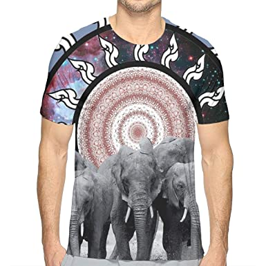 25264f8243ad Amazon.com: Exploring Elephant Family Space Circle Mens 3D Printed T Shirts  Short Sleeve Cool Tee: Clothing