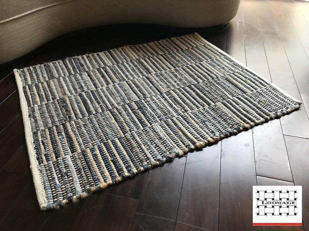 LOOMAGE INDIA Denim rug【Japan Produce】26.9×34.7inch