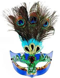 Lawary Máscara Veneciana, Carnaval, Plumas de Pavo Real, para ...