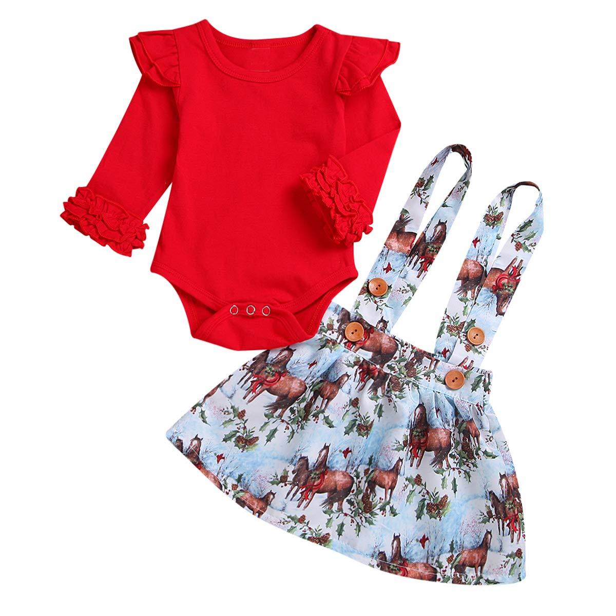 Newborn Baby Girls Ruffle Long Sleeve Romper Jumpsuit Horse Suspender Skirt Overalls Outfits Set