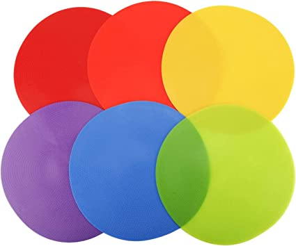 """Markers Six NEW 12/"""" Line-Up Spots Poly Vinyl Flat Field Cones Rainbow Colors"""