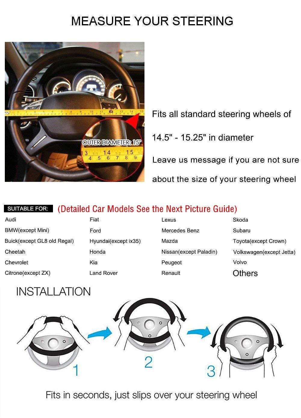 15 Cuir V/éritable HCMAX Prime V/éhicule Couvre Volant Voiture Protecteur de Volant Universel Diam/ètre 38cm