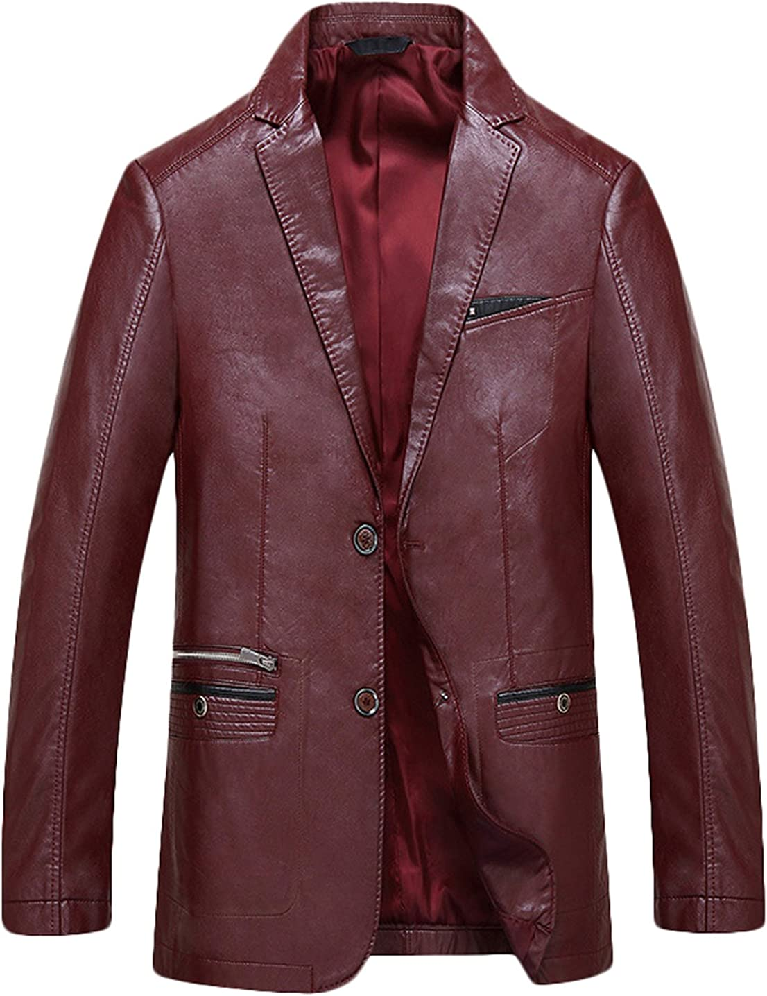 Youhan Mens Slim Two-Button Faux Leather Blazer Suit Jacket