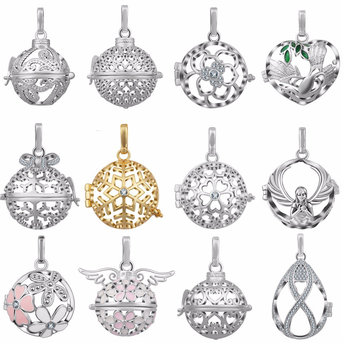EUDORA 12pcs New Lockets Silver Plated Lockets Pendant Necklace for 20mm Chime Ball