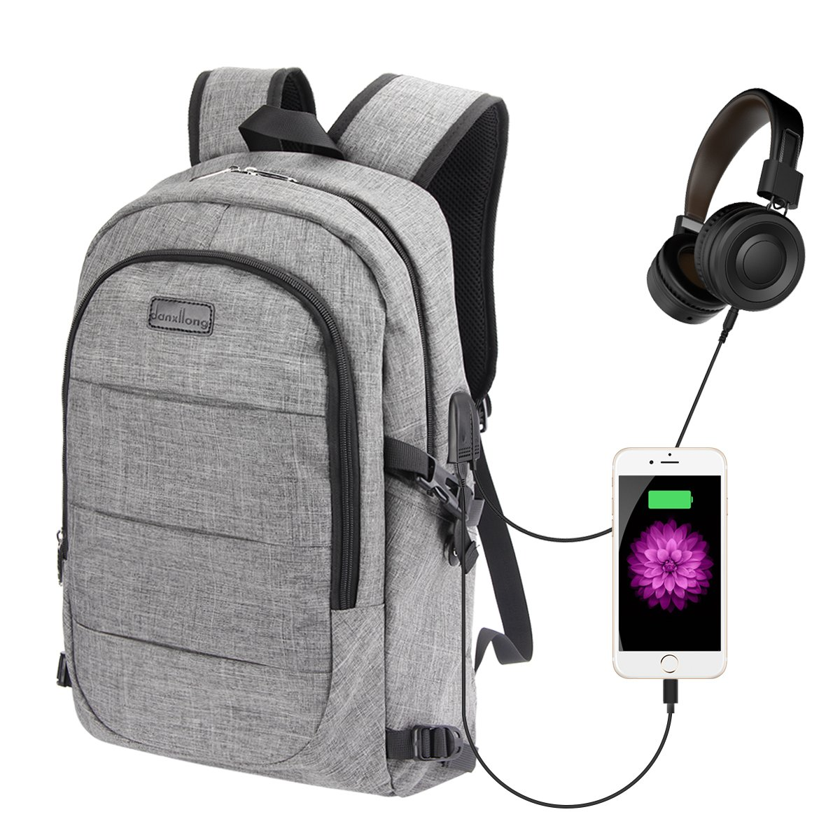 Laptop Backpack for Men, MEKUULA 15.9 Laptop Backpack with Charger, Computer Backpack with USB Charging Port and Headphone Interface for School Travel Business delicate