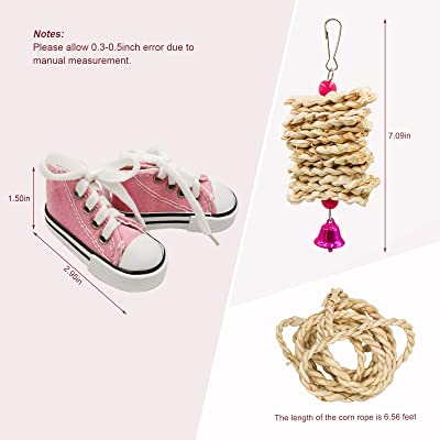Cockatiel Mynah Love Birds,Dove Budgie Finches Finche Conures 12 Pieces Parrot Sneakers Colorful Cotton Shredder Hanging Cage Bite Toys for Small Parakeets Bird Chewing Toys Parrotlet H01