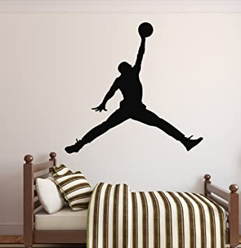 MICHAEL JORDAN JUMPMAN Basketball Wall Decal Sticker Bedroom Sports ... 4f6554223