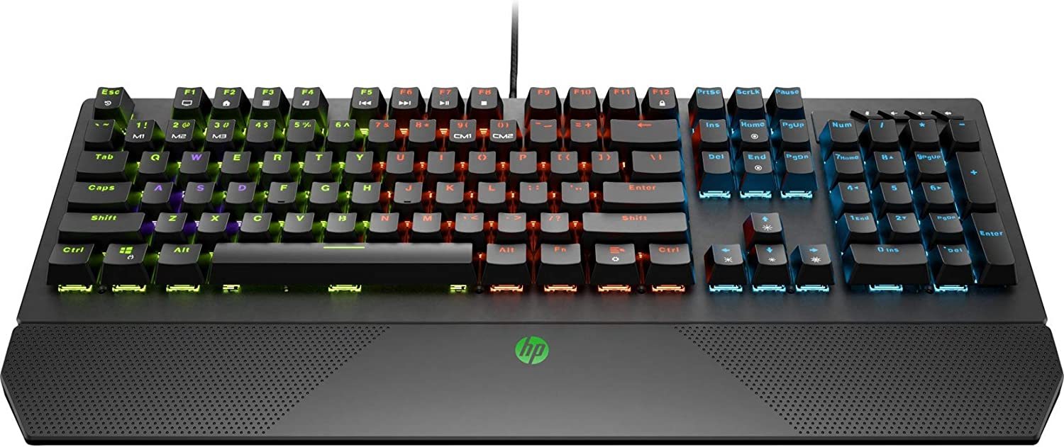 HP Pavilion Gaming Wired Mechanical Keyboard 800 with 4-Zone Backlit LED, Anti-Ghosting N-Key Rollover, Audio Control, and Red Mechanical Switches, (5JS06AA)