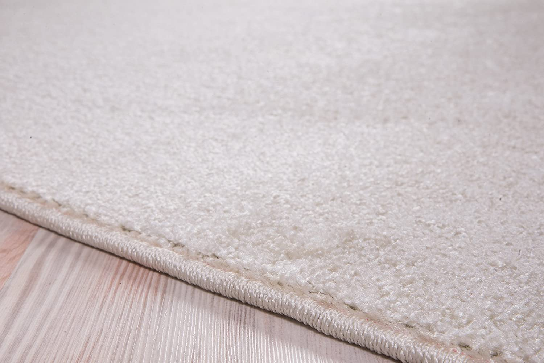 80x150 Luxus Hochwertiger einfarbiger Teppich Modern Gr/ö/ßen Creme