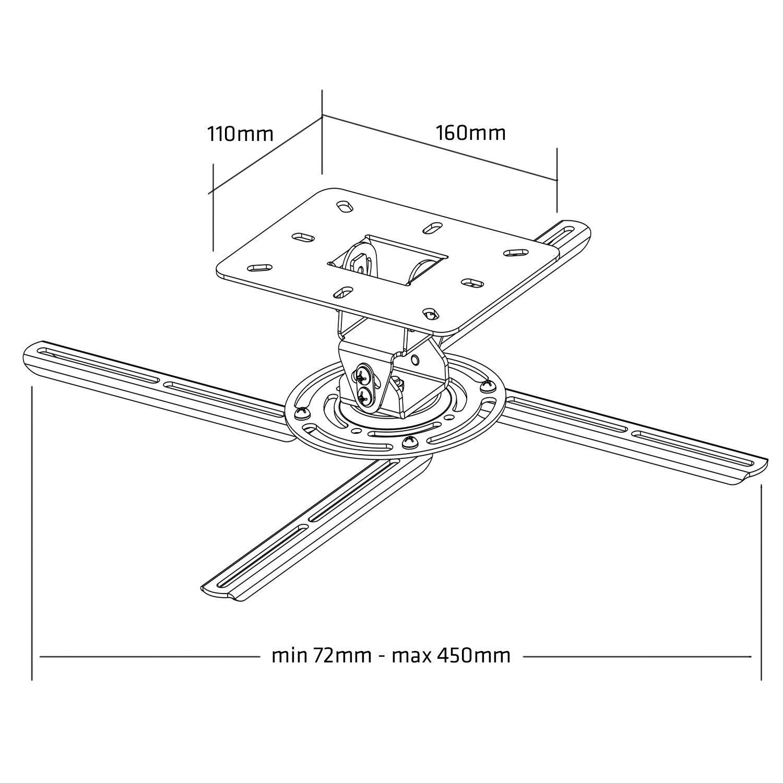 Soporte universal para el proyector montaje de techo Maclean MC-780 73-300mm 13,6kg