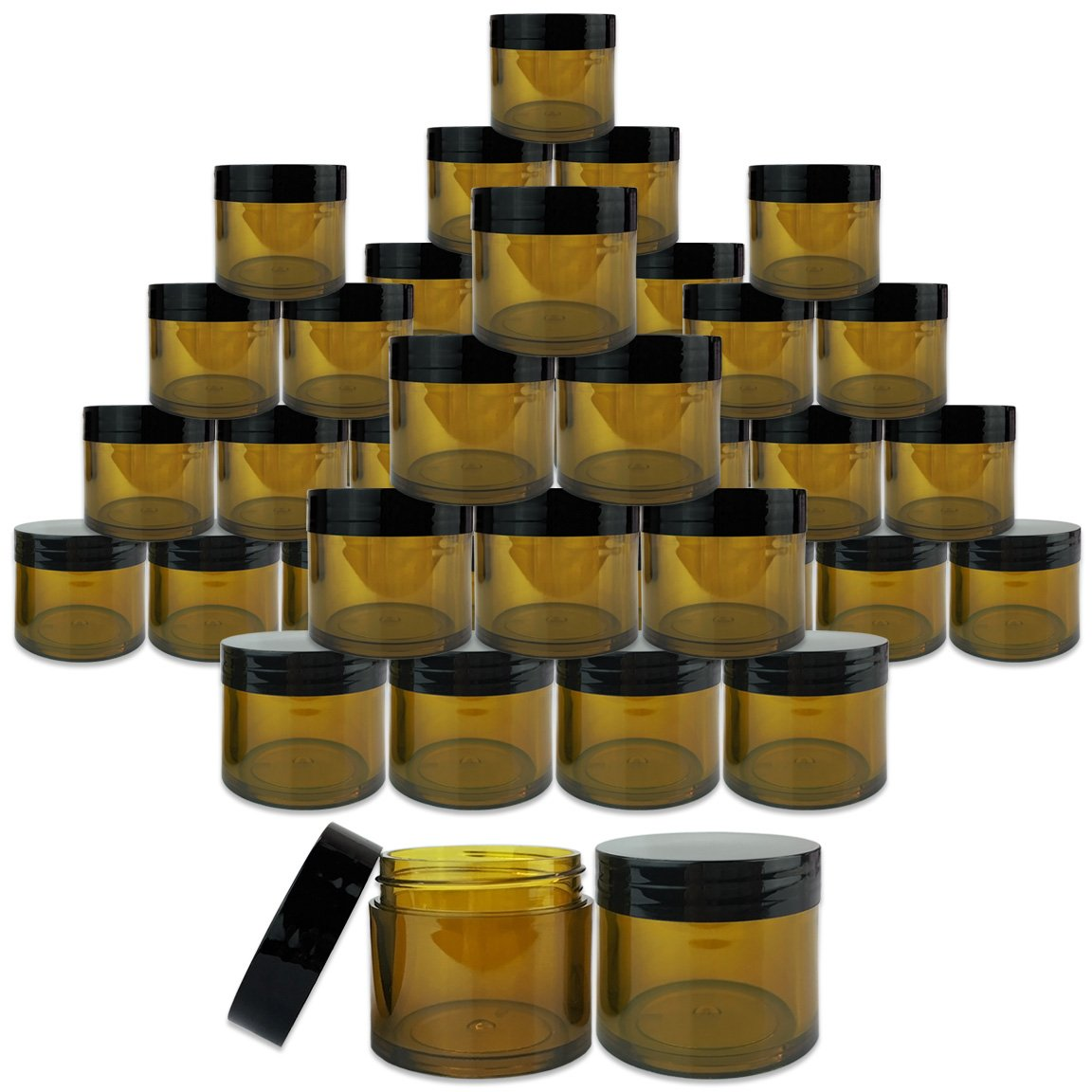 Beauticom 180 Pieces 30G/30ML(1 Oz) Thick Wall Round AMBER Plastic Container Jars with Black Flat Top Lids - Leak-Proof Jar - BPA Free