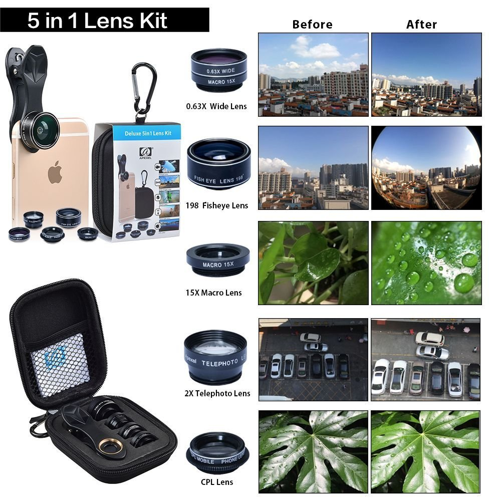 Apexel 5 in 1 Camera Lens Kit - Telephoto + Fisheye + Wide Angle & Macro for X/8/7/6/6s plus Samsung Galaxy S8/S7 Plus Andriod Phone
