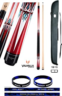 product image for Valhalla VA601 by Viking 2 Piece Pool Cue Stick, No Wrap Design, 6 Full Color Point Transfers, Nickel Silver Rings, High Impact Ferrule, 18-21 oz. Plus Cue Case & Bracelet