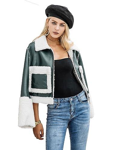 Simplee ropa mujer chaqueta de invierno ropa de abrigo de cordero de cuero de imitacion de esquila