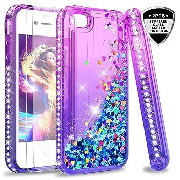 LeYi Hülle iPhone 4 / iPhone 4S Glitzer Handyhülle mit Panzerglas Schutzfolie(2 Stück), Diamond Cover Bumper Schutzhülle für