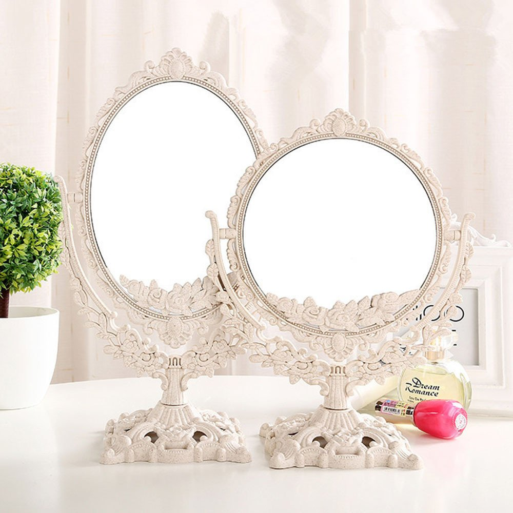 GF Wood Women Makeup Mirror Vintage Floral Oval Round Handhold Mirror Princess Elegant Makeup Beauty Tools,White,Oval by GF Wood (Image #2)