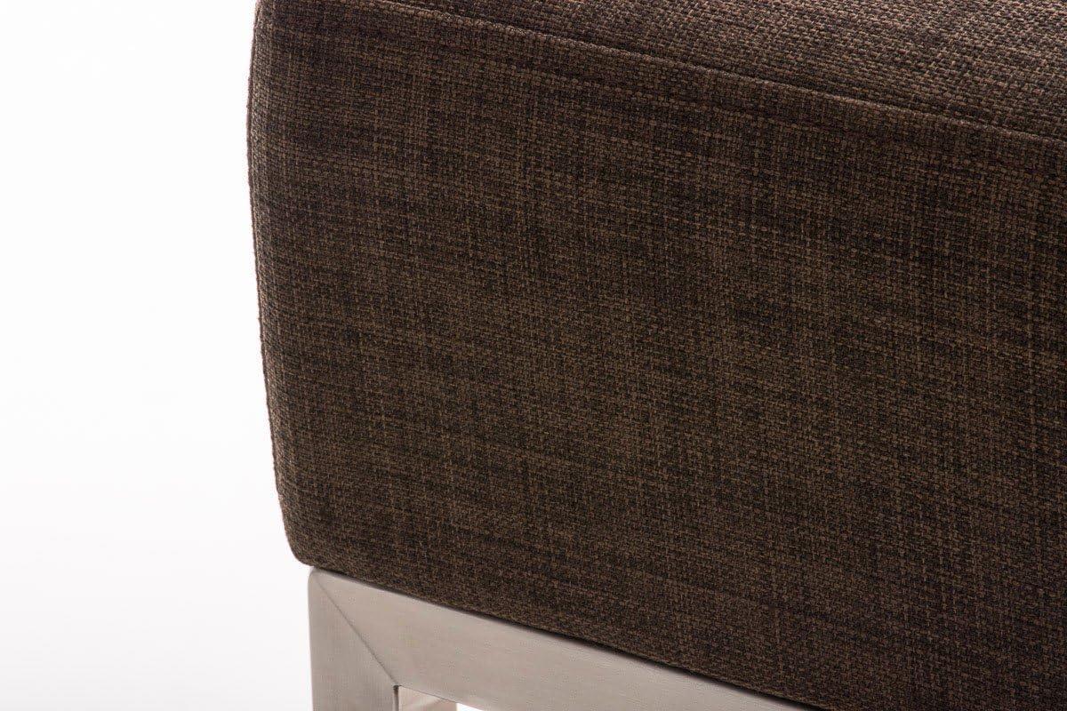 CLP Sitzhocker LAMEGA I Hocker mit strapazierfähigem Stoffbezug I Sitzwürfel mit robustem Edelstahlgestell I erhältlich, Farbe:braun Braun