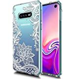 Galaxy S10E Case Huness TPU Grip Bumper and Clear Flower Transparent Hard PC Backplate Hybrid Slim Phone Case Cover for Samsung Galaxy S10E Phone (Flower)