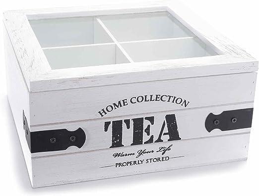 Dream Hogar Caja te infusiones Madera 4 Compartimentos Tea Home ...