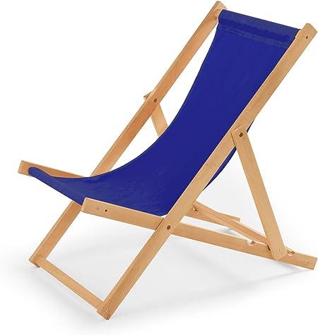 IMPWOOD Chaise longue de jardin en bois, fauteuil de relaxation, chaise de plage bleu