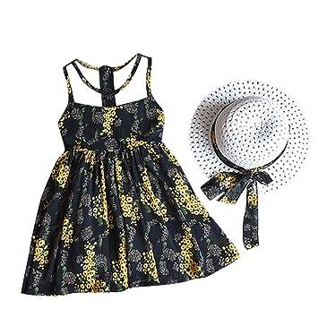 feiXIANG Ropa para niños Ropa para niñas Vestido de chifón Vestido de Chaleco Floral + Conjunto de Sombrero para el Sol Vestido de Playa Vestido Informal ...