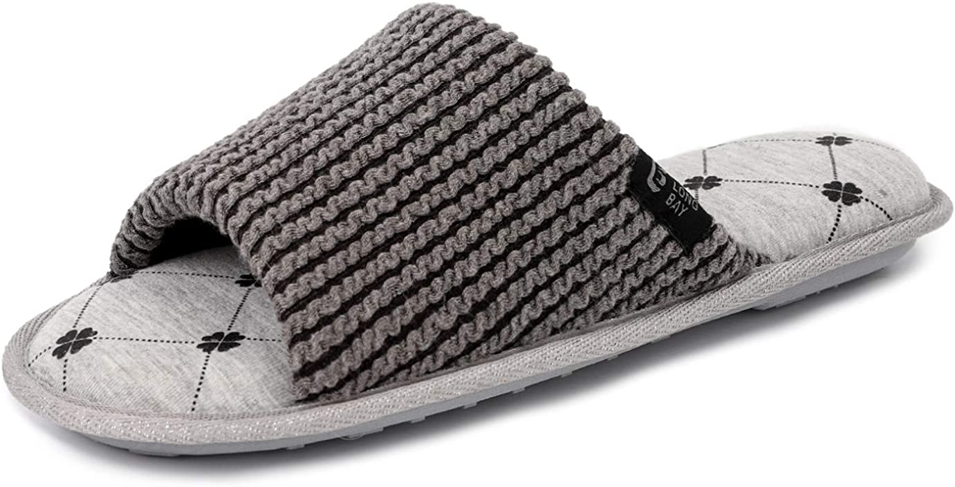 LongBay Women's Soft Cotton Knit Slide Slippers Comfy Memory Foam Spa Shoes with Moisture Wicking Lining and Anti-Skid Rubber Sole