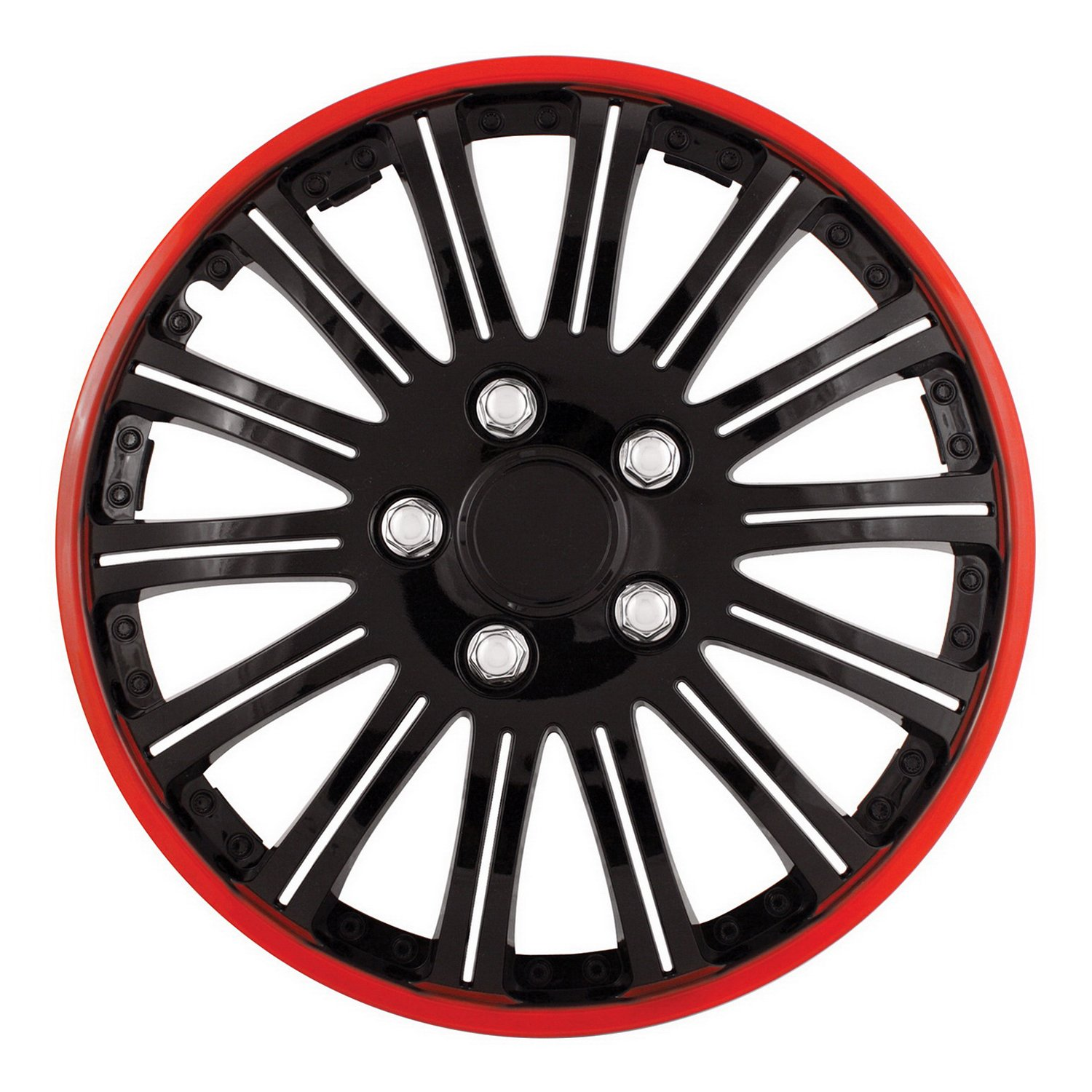 Pilot WH527-15RE-B Universal Fit Cobra Black and Chrome with Red Trim 15 Inch Wheel Covers - Set of 4